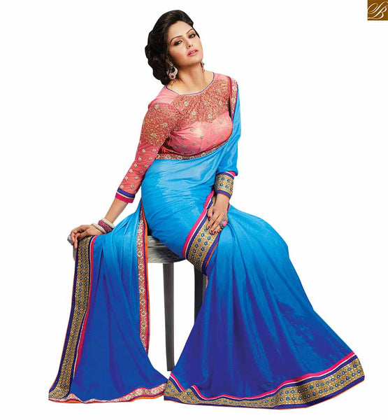 FROM STYLISH BAZAAR WONDERFUL BLUE SAREE CONJUGATED WITH A VIBRANT DESIGNER PINK BLOUSE RTBAJ9015