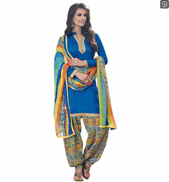 LATEST PUNJABI SUITS DESIGN PATIALA SALWAR KAMEEZ ONLINE ETHNIC BEAUTY BLUE COMFORTABLE KAMEEZ WITH PRINTED DUPATTA  AND TRENDY SALWAR