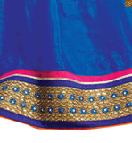 BROUGHT TO YOU BY STYLISH BAZAAR WONDERFUL BLUE SAREE CONJUGATED WITH A VIBRANT DESIGNER PINK BLOUSE RTBAJ9015