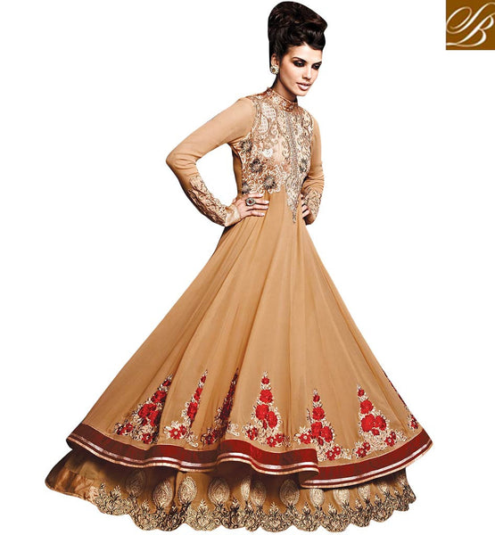 CHIKOO DOUBLE LAYERED LOOK GOWN STYLE SALWAR KAMEEZ WITH DUPATTA