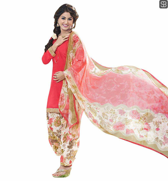 DESIGNER PUNJABI SALWAR KAMEEZ LIKED BY HEROINES BOLLYWOOD DRESS TREND HINA KHAN, BIG PERSONALITY OF SMALL SCREEN IN PEACH TOP WITH PRINTED PATIALA SALWAR AND DUPATTA