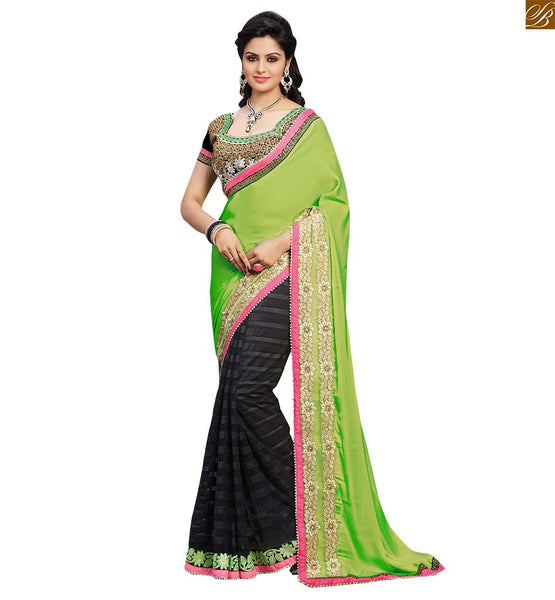 STYLISH BAZAAR PLEASING CASUAL WEAR GREEN SARI UNITED TO A BLACK BLOUSE RTBAJ9016