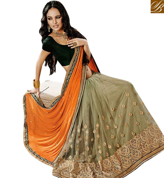 STYLISH BAZAAR FASCINATING MEHENDI NET HAVING EMBROIDERED FEATURE ON SKIRT WITH ORANGE PALLU NKEVR9016