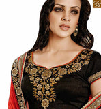 CAPTIVATING BLACK AND ORANGE CHIFFON GEORGETTE HALF N HALF DESIGNER SAREE NKEVR9017