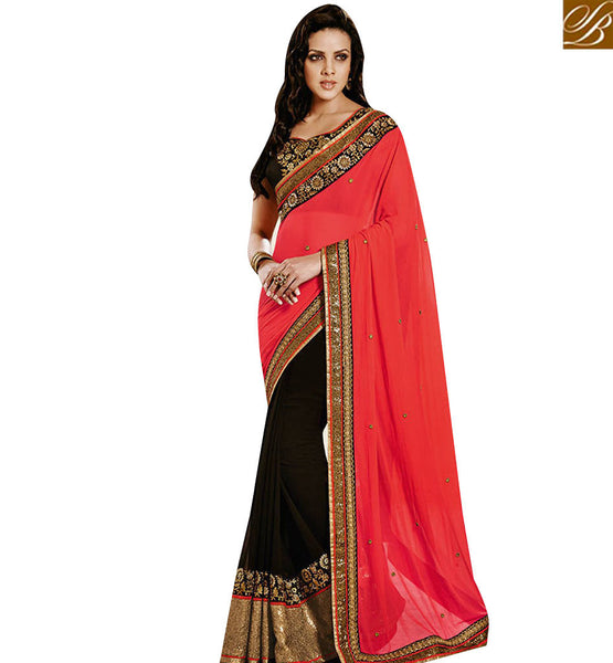 STYLISH BAZAAR CAPTIVATING BLACK AND ORANGE CHIFFON GEORGETTE HALF N HALF DESIGNER SAREE NKEVR9017