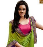 DELIGHTFUL PURPLE GEORGETTE AND GREEN CHIFFON PALLU WITH PINK DESIGNER BLOUSE NKEVR9018