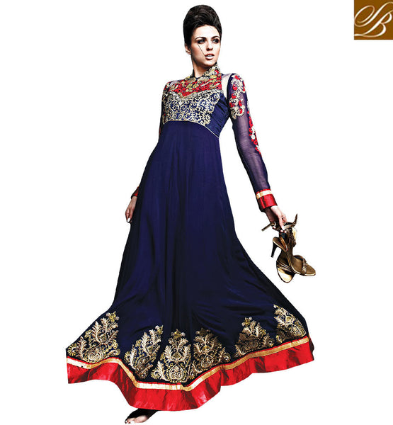 DESIGNER DARK BLUE ROYAL LOOK GOWN STYLE ANARKALI SALWAR SUIT WITH DUPATTA