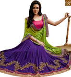 STYLISH BAZAAR DELIGHTFUL PURPLE GEORGETTE AND GREEN CHIFFON PALLU WITH PINK DESIGNER BLOUSE NKEVR9018