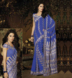 Royal Blue Georgette Party wear saree