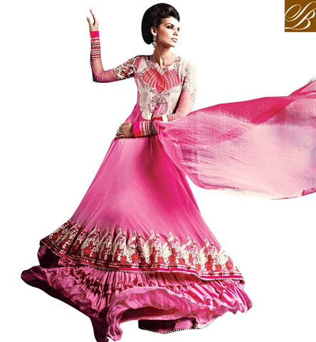 LATEST DESIGNER EUROPEAN GOWN STYLE PINK ANARKALI DRESS WITH DUPATTA RTCOS9019