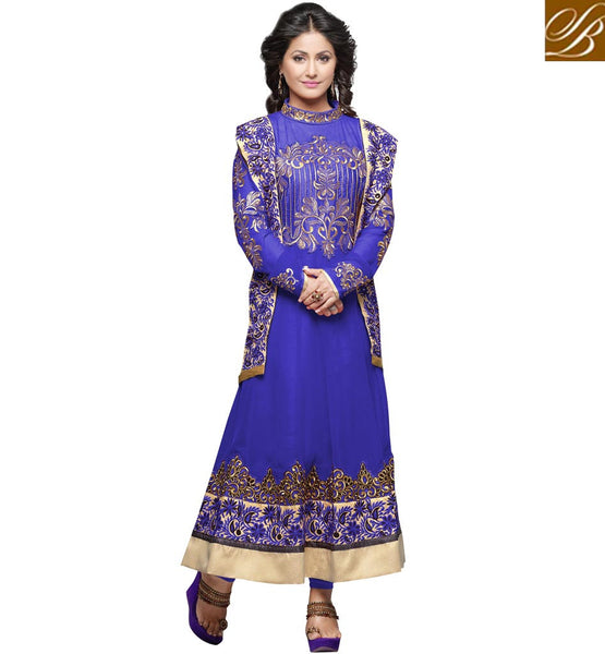 HINA KHAN ACTRESS DESIGNER PARTY WEAR ANARKALI WITH DUAL DUPATTA