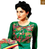 SHADED GREEN RAJWADI GEORGETTE ANARKALI WITH MATCHING SANTOON SALWAR AND NET DUPATTA MULTICOLOR FLORAL EMBROIDERY SUIT WITH RICH LAYERED STYLE DESIGNING
