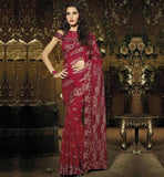 MAGNETIC MAROON DESIGNER PARTY WEAR SAREE