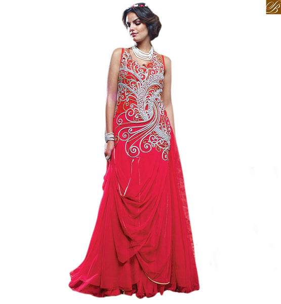 HEAVY EMBROIDERED PATTERNS ON NECK AND BACK ATTIRE, ASSORTED OUT OF OUR STYLISH GOWNS COLLECTION  HEAVY MACHINE EMBROIDERY STITCHING AROUND NECK LINE AND BACK OF KNITTED PINK STYLiSH GOWN