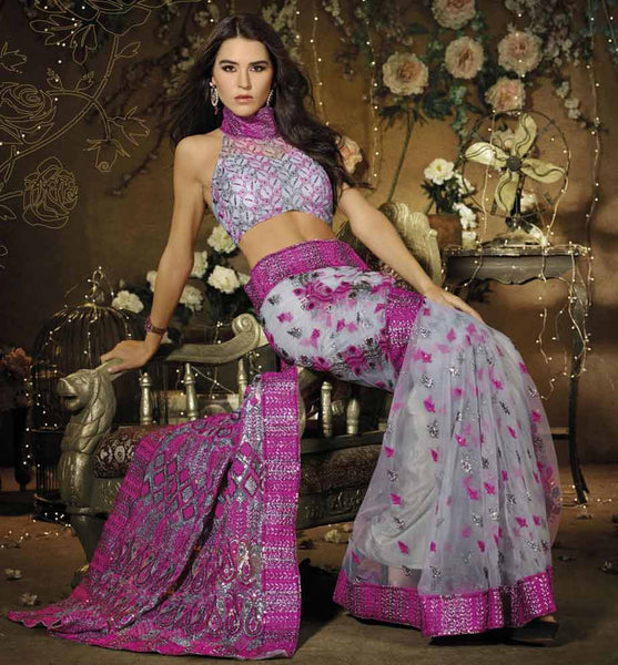 GLAMOUROUS GREY AND PINK DESIGNER PARTY WEAR SARI