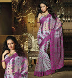 GORGEOUS GREY AND PINK DESIGNER PARTY WEAR SARI