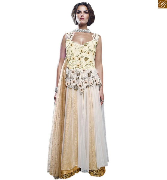 WHITE AND BEIGE MULTILAYERED NET BRASSO RESHAM EMBROIDERED LONG GOWN WITH DESIGNER BACK LONG GOWNS ONLINE SHOPPING INDIA FOR STYLISH AND STUNNING LOOK