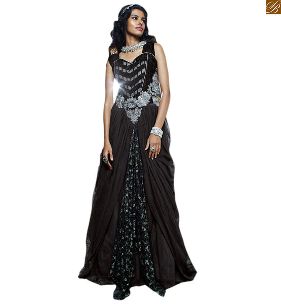 BREATH-TAKING BACKLESS EVER-STYLISH EVENING GOWN DRESS ONLINE FOR FASHIONISTA WOMEN. BLACK VELVET, NET & BRASSO DOUBLE LAYERED TYPE GOWN WITH BELT STYLE PATTERNS ON WAIST