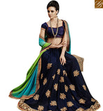 STYLISH BAZAAR PRESENTS GLAMAROUS NAVY BLUE GEORGETTE WITH GREEN SHADED PALLU DESIGNER SAREE NKEVR9023