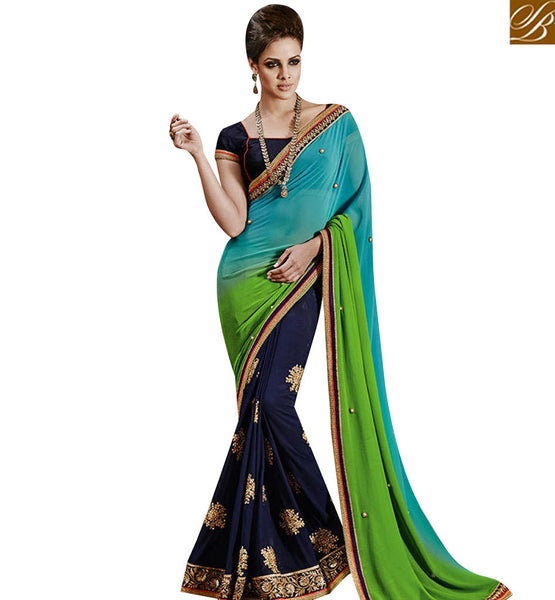 STYLISH BAZAAR GLAMAROUS NAVY BLUE GEORGETTE WITH GREEN SHADED PALLU DESIGNER SAREE NKEVR9023