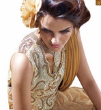 CREAM, YELLOW AND BROWN NET BRASSO HEAVY EMBROIDERED DESIGNER GOWN BEAUTIFIED WITH COLORFUL DIAMONDS ON NECK. INNER ALSO INCLUDED