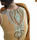 DESIGNER GOWNS ONLINE SHOPPING SUITABLE FOR PARTY WEAR DRESS-UP CREAM, YELLOW AND BROWN NET BRASSO HEAVY EMBROIDERED DESIGNER GOWN BEATUFIED WITH COLORFUL DIAMONDS ON NECK. IT ALSO CONSIST OF A SANTOON INNER
