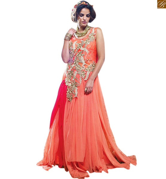 BEST OF GLAMOROUS INDIAN EVENING GOWNS COLLECTION FOR STYLISH AND STUNNING LOOK FOR WOMEN WHO WANT TO BE IN VOGUE UP-TO-THE-MINUTE.PINK AND ORANGE NET BRASSO DESIGNER WORK
