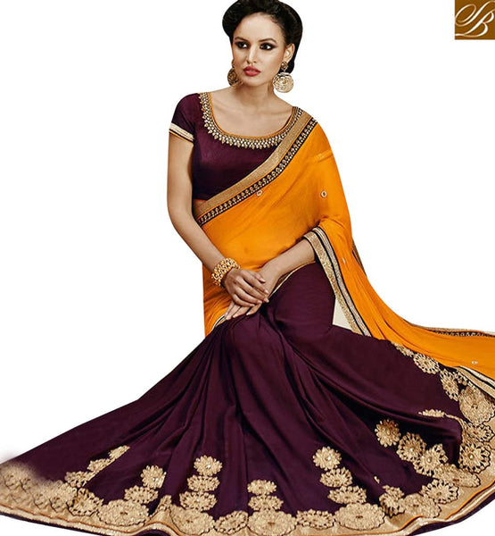 STYLISH BAZAAR ATTRACTIVE WINE GEORGETTE CHIFFON HAVING WELL FEATURED DESIGNER SAREE NKEVR9025