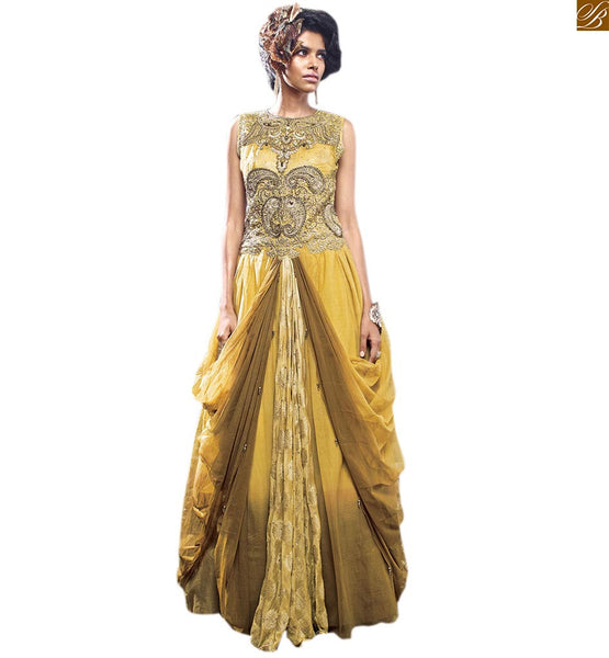 CLASSY TWIN LAYERED AND RICH LOOKING EVER-STYLISH EVENING GOWN WITH EMBROIDERY ON NECK AND BACK DOUBLE COMBO OF MUSTARD AND BROWN COLOR & VISCOSE AND KNITTED FABRIC HEAVY EMBROIDERED RICH LOOKING INDIAN GOWN BEADED EXCELLENTLY FOR ELEGANT LOOK