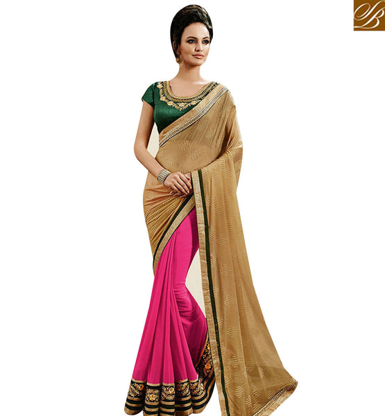 STYLISH BAZAAR PINK AND BEIGE GEORGETTE HAVING HALF N HALF EMBROIDERY WORK ON BORDER NKEVR9027