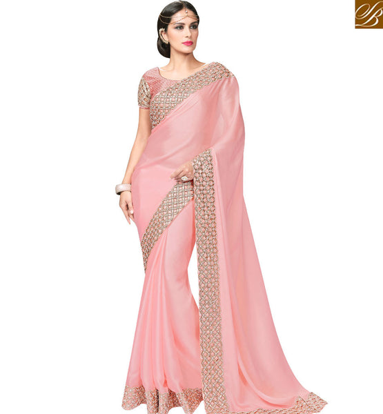 STYLISH BAZAAR LOVELY PINK DESIGNER SAREE WITH BORDER WORK AND BROCADE BLOUSE MHFCL9027