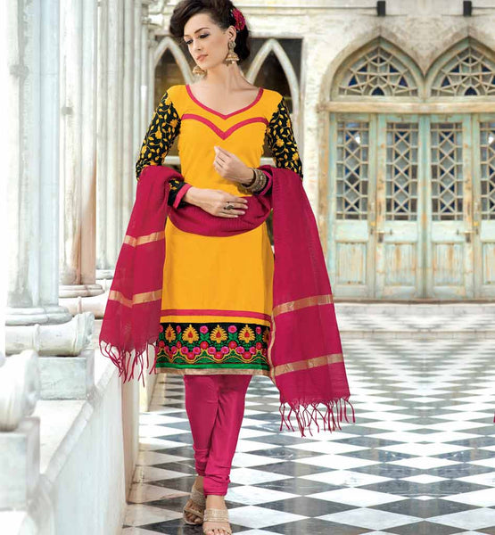 YELLOW PURE CHANDERI SALWAR SUIT VDSIL9028