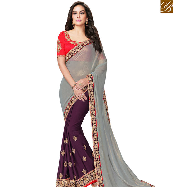 STYLISH BAZAAR WINE AND GREY GEORGETTE CHIFFON HALF N HALF SAREE WITH PINK BLOUSE MHFCL9028
