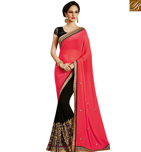 STYLISH BAZAAR FASHIONABLE BLACK GEORGETTE DESIGNER SAREE HAS SELF EMBROIDERY WORK ON ITSELF WITH PINK CHIFFON PALLU NKEVR9029