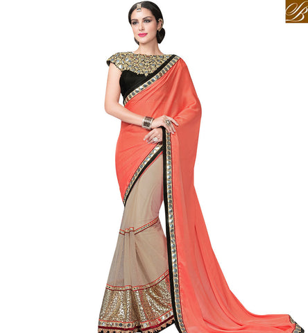 STYLISH BAZAAR ATTRACTING ORANGE AND BEIGE DESIGNER HALF N HALF SAREE WITH BLACK VELVET EMBROIDERED BLOUSE MHFCL9029