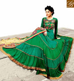 FULL GHER INDIAN WEDDING SALWAR KAMEEZ ONLINE SHADED GREEN RAJWADI GEORGETTE ANARKALI WITH MATCHING SANTOON SALWAR AND NET DUPATTA