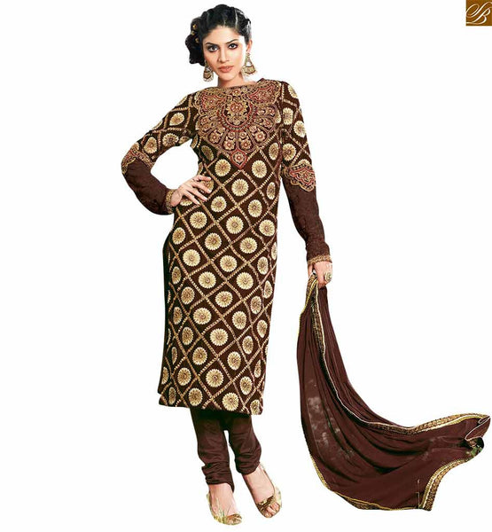 Brown straight cut karachi style salwar kameez brown georgette close neck designer salwar kameez with royal look. This salwar kameez has zari. Resham embroidery and stone work all over dress Image