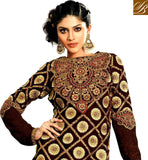 BROWN GEORGETTE AND VELVET STRAIGHT CUT SUIT WITH SANTOON SALWAR AND CHIFFON ODHNI HEAVY ZARI AND EMBROIDERY WORK SUIT WITH DETAILING ALL OVER THE DRESS INCLUDING SLEEVES AND BACK