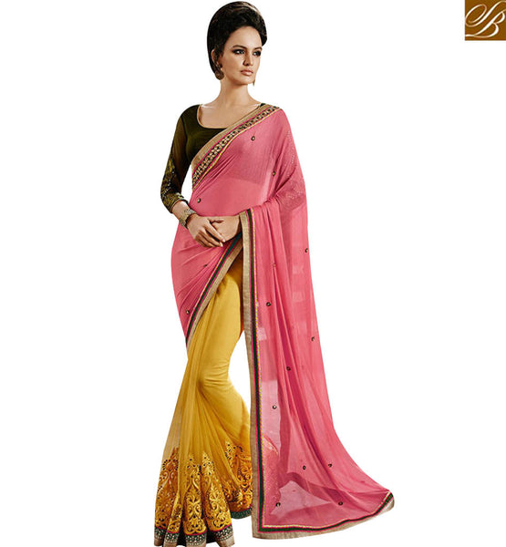STYLISH BAZAAR INSPIRED MUSTARD NET DESIGNER SAREE WITH CHIFFON PALLU HAVING SMALL BUTTA NKEVR9030