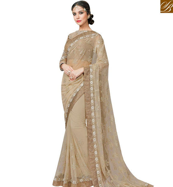 STYLISH BAZAAR GRACEFUL BEIGE DESIGNER NET SAREE WITH LACE BORDER WORK MHFCL9030