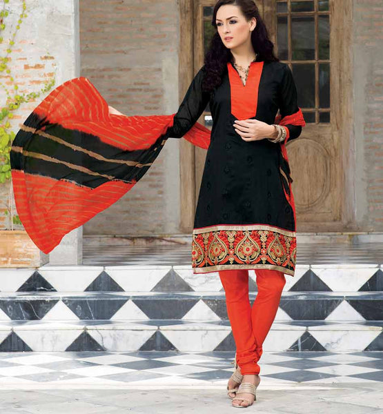 BLACK PURE CHANDERI SALWAR SUIT VDSIL9031