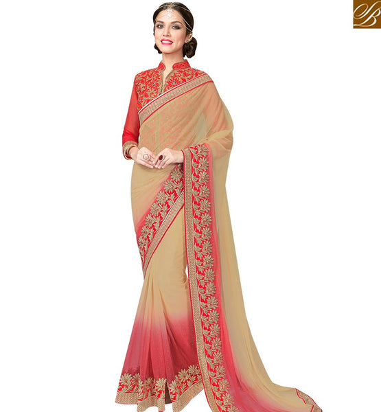 STYLISH BAZAAR SPLENDID BEIGE AND RED SHADED NET SAREE WITH RED EMBROIDERED BLOUSE MHFCL9031
