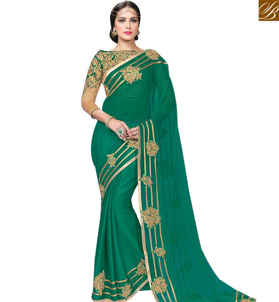 STYLISH BAZAAR ROYAL RAMA AND GREEN CHIFFON NET SAREE WITH BROCADE EMBROIDERED BLOUSE MHFCL9032