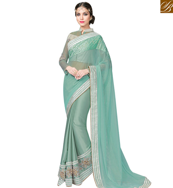 STYLISH BAZAAR SEA GREEN LYCRA NET AND SATIN GEORGETTE SAREE WITH LOVELY FLOWER WORK ON BORDER MHFCL9034