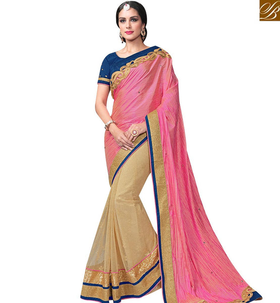 STYLISH BAZAAR BEIGE AND PINK SHADED NET SAREE WITH WONDERFUL NAVY BLOUSE MHFCL9035