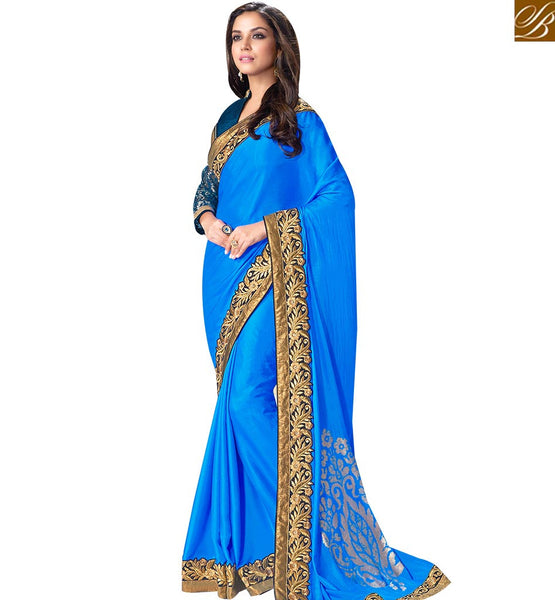 STYLISH BAZAAR STUNNING ROYAL BLUE SATIN SILK SAREE WITH DISPLAYING WORK ON BORDER MHFCL9036