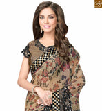A STYLISH BAZAAR BEIGE AND BLACK LYCRA NET SAREE WITH MARVELLOUS PRINTED PALLU AND BROCADE BLOUSE MHFCL9037