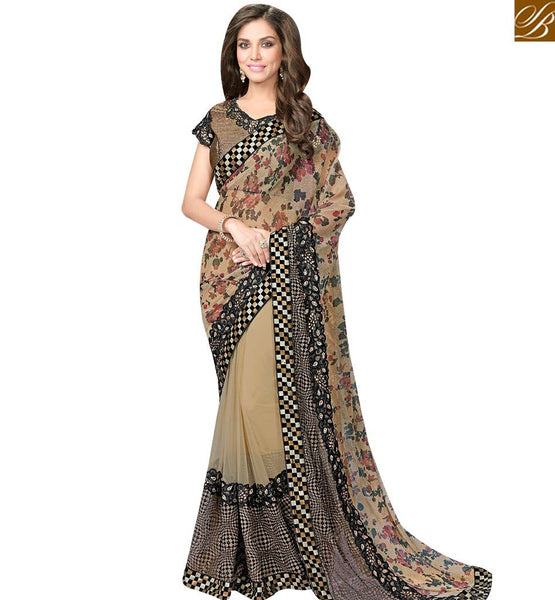 STYLISH BAZAAR BEIGE AND BLACK LYCRA NET SAREE WITH MARVELOUS PRINTED PALLU AND BROCADE BLOUSE MHFCL9037
