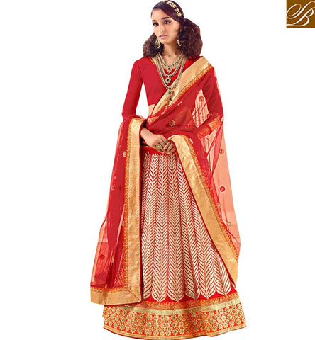 TRADITIONAL BEAUTIFULLY EMBROIDERED 3 PIECE LEHENGA SUIT RTSYS9037 BY STYLISH BAZAAR