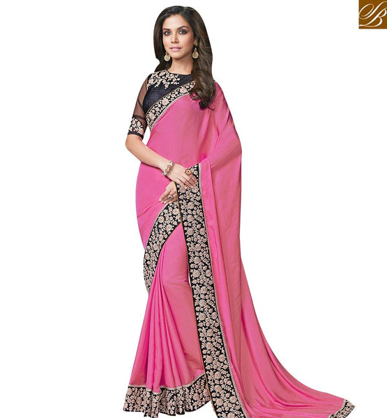 STYLISH BAZAAR PINK SATIN CHIFFON AND GEORGETTE SAREE WITH HEAVY EMBROIDERY WORK ON BORDER MHFCL9038